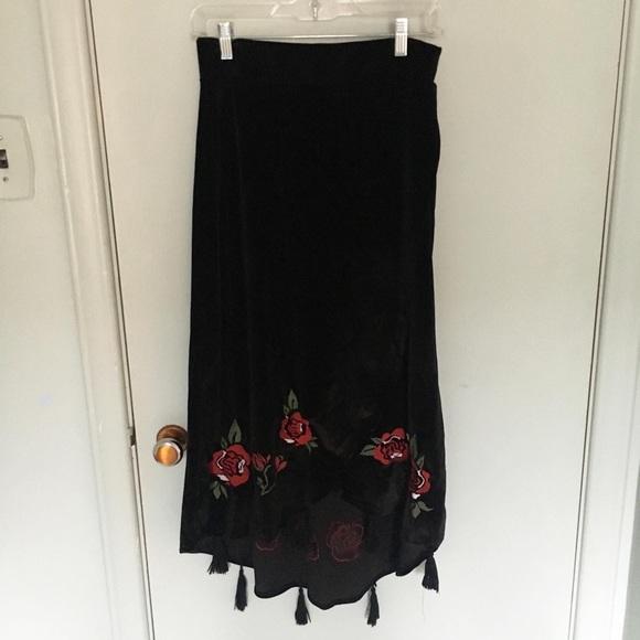 Velvet Floral Skirt